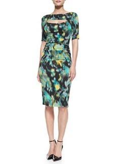 Tracy Reese 1/2-Sleeve Floral Warp-Print Peek-A-Boo Sheath Dress