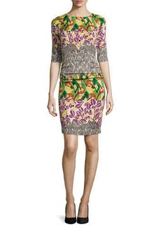 Tracy Reese 3/4-Sleeve Ruched Printed Dress
