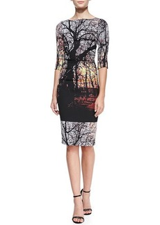 Tracy Reese 3/4-Sleeve Ruched-Side Landscape Sheath Dress