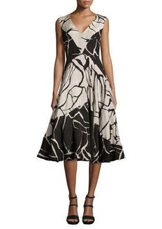 Tracy Reese Abstract Printed Sleeveless Flared Dress