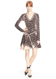 Tracy Reese Animal Jacquard Fit & Flare Dress
