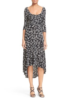 Tracy Reese Animal Print Back Wrap Jersey Dress
