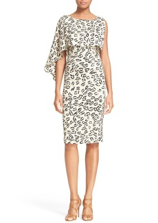 Tracy Reese Asymmetrical Print Stretch Silk Dress
