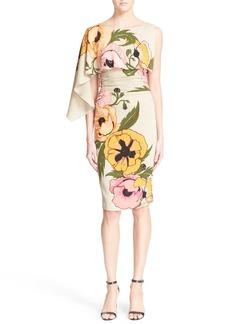 Tracy Reese Asymmetrical Print Stretch Silk Dress