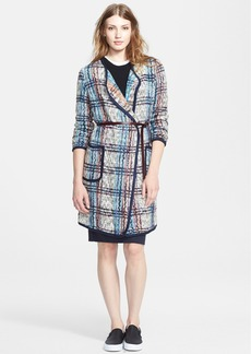 Tracy Reese Belted Plaid Blanket Cardigan
