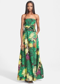 Tracy Reese Cactus Flower Print Strapless Gown