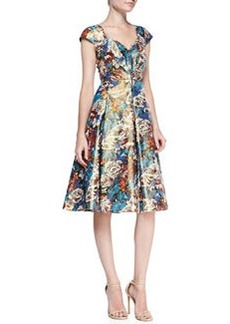 Tracy Reese Cap-Sleeve Floral Metallic Dress