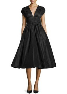 Tracy Reese Cap-Sleeve Full-Flare Taffeta Dress