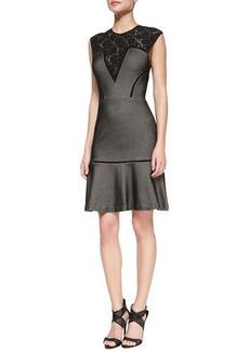 Tracy Reese Cap-Sleeve Lace-Yoke Bonded Mesh Dress