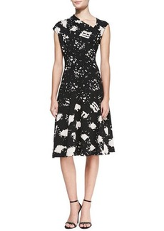 Tracy Reese Cap-Sleeve Printed Side Pull-Neck Dress