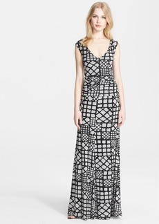 Tracy Reese Cross Back Geometric Print Jersey Maxi Dress