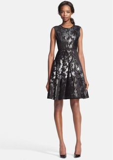 Tracy Reese Cross Pleat Brocade Fit & Flare Dress