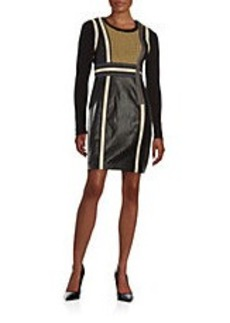 TRACY REESE Deenie Leatherette Colorblocked Dress