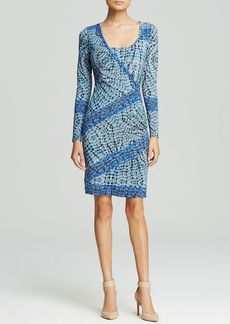 Tracy Reese Dress - Asymmetric Ruched Print Jersey Shift