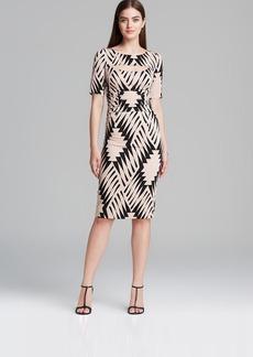 Tracy Reese Dress - Short Sleeve Stretch Crepe Print Jersey Cutout Sheath