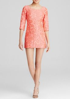 Tracy Reese Dress - Three-Quarter Sleeve Jacquard Mini Shift