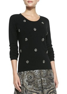 Tracy Reese Embellished Crewneck Sweater