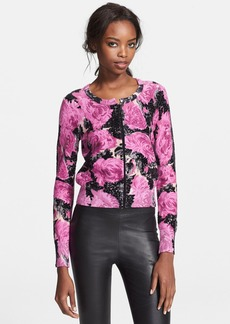 Tracy Reese Embellished Floral Print Cardigan
