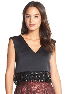 Tracy Reese Embellished Hem Crop Top