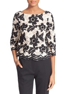 Tracy Reese Embellished Lace Crop Top