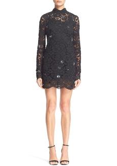 Tracy Reese Embellished Lace Mock Turtleneck Sheath Dress