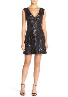 Tracy Reese Embellished Mesh Fit & Flare Dress