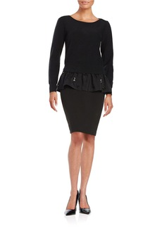 TRACY REESE Embellished Peplum Sweater