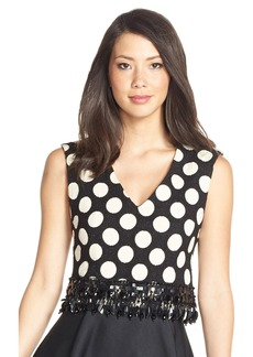 Tracy Reese Embellished Polka Dot Crop Top