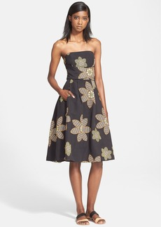 Tracy Reese Embroidered Strapless Fit & Flare Dress