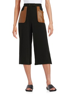 TRACY REESE Faux Leather-Accented Culottes