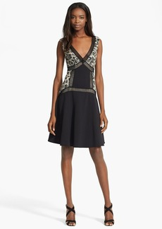 Tracy Reese Faux Leather Lace Flared Dress