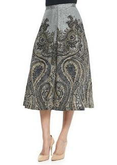 Tracy Reese Flared Paisley-Print Silk-Linen Skirt