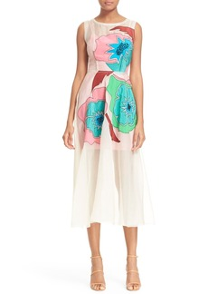 Tracy Reese Floral Appliqué Silk Fit & Flare Dress