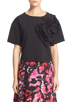Tracy Reese Floral Embellished Stretch Crepe Top