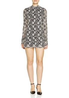 Tracy Reese Floral Lace Mock Neck Mini Dress