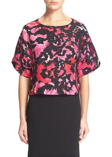 Tracy Reese Floral Print Linen & Silk Top