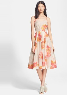 Tracy Reese Floral Print Organza Fit & Flare Dress