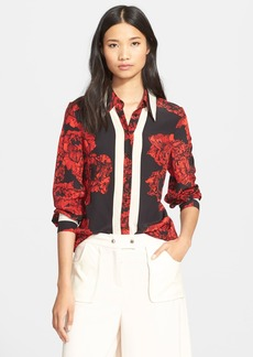 Tracy Reese Floral Print Silk Boyfriend Shirt