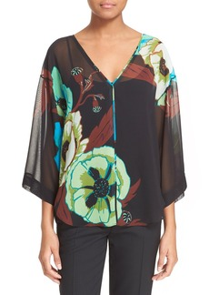 Tracy Reese Floral Print Silk Shirt
