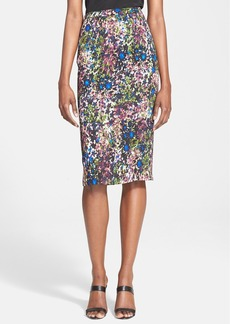 Tracy Reese Floral Print Stretch Crepe Pencil Skirt