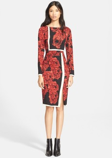 Tracy Reese Floral Print Stretch Silk Sheath Dress