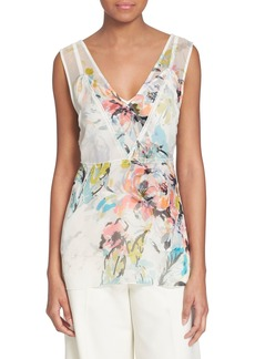 Tracy Reese Floral Print V-Neck Silk Shell