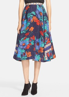 Tracy Reese Floral Print Jacquard Skirt