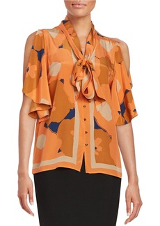 TRACY REESE Floral Silk Tie-Front Blouse