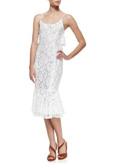 Tracy Reese Flounce Lace Slip Dress, White