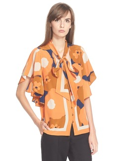Tracy Reese Flounced Tie Neck Print Silk Blouse