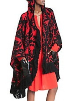 TRACY REESE Fringe and Faux Leather-Trimmed Poncho