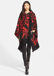 Tracy Reese Fringe Trim Knit Hooded Poncho