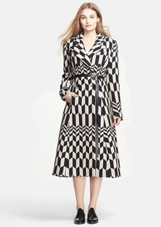 Tracy Reese Herringbone Double Breasted A-Line Coat