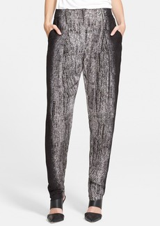 Tracy Reese Herringbone Print Lamé Trousers